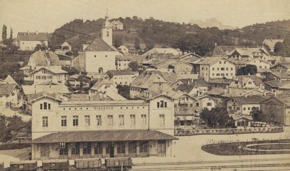 Bahnhof Miesbach, 1880, © Stadtarchiv Miesbach